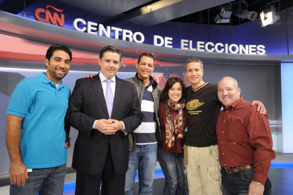 10/28/2012 Juan Carlos Lopez and CNNE News Director Willie Lora stand with CNN en Espanol staff members during election coverage rehearsals in Studio 7 at CNN Center in Atlanta on Sunday October 28, 2012. ph: E. M. Pio Roda / CNN